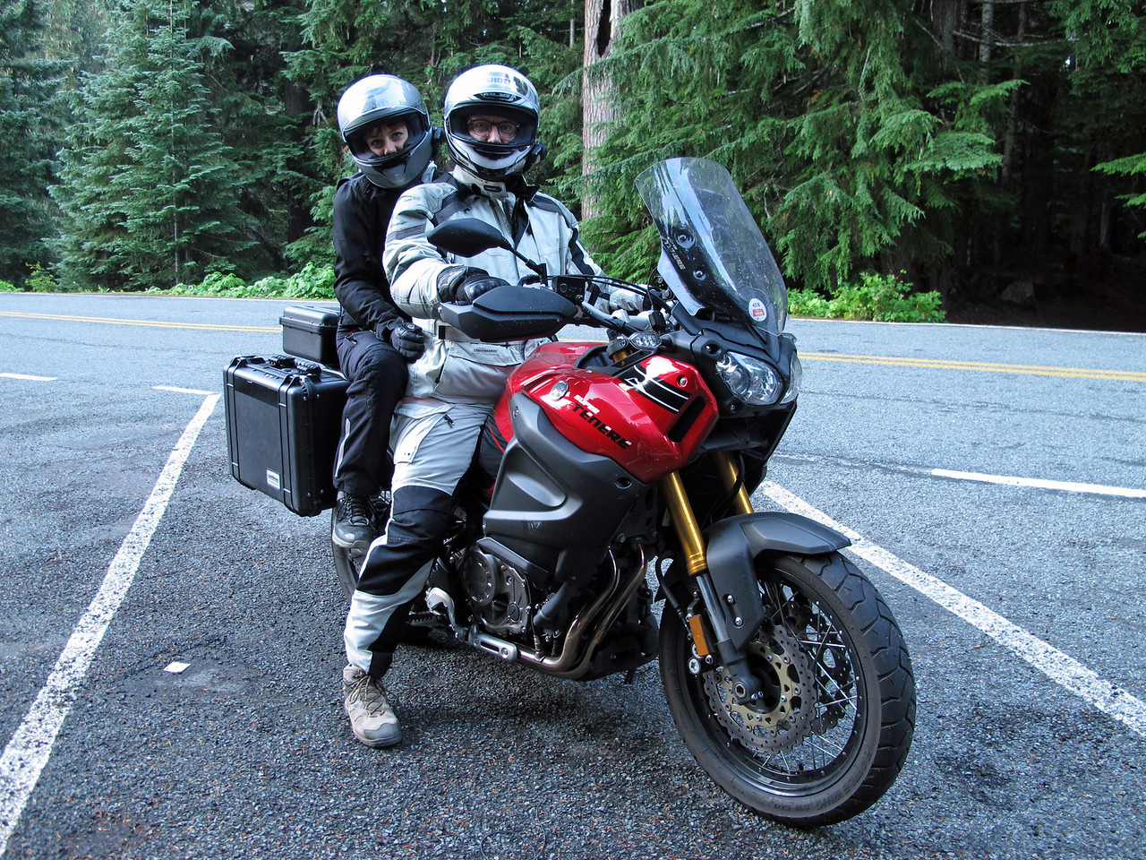 Megan and Dave on their cool bike at the Summerland Trailhead in Mt. Rainier National Park before our hike (7:30 am).