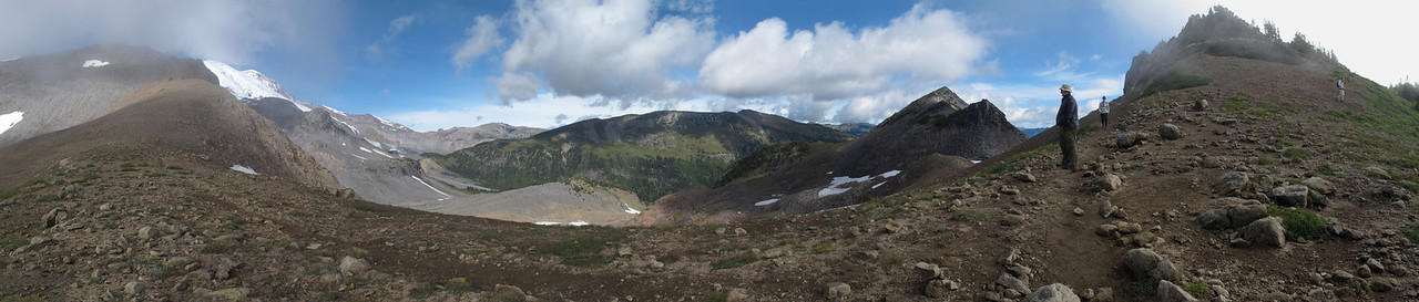Panorama from the Panhandle Gap (our destination on this hike).  Mt. Rainier is partially hidden on the left.