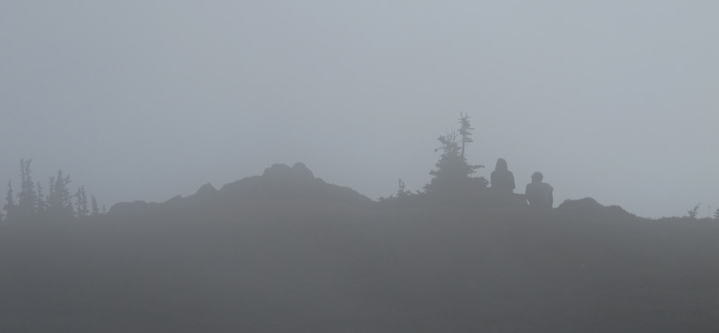 Hikers in fog at the Panhandle Gap.