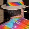 Fried Cal's rainbow wardrobe.