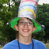 David's duct tape hat has a beacon on top to warn nearby aircraft.