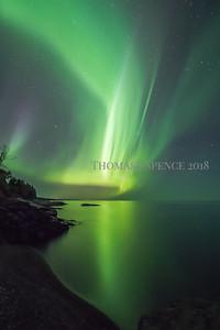 Northern lights over Lake Superior near Schroeder, MN