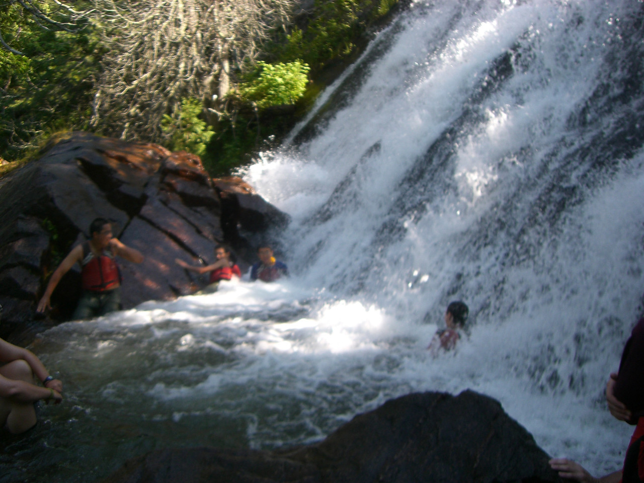 """We take our first """"bath"""" at Lousia Falls.  Much needed on this +90 degee day!"""