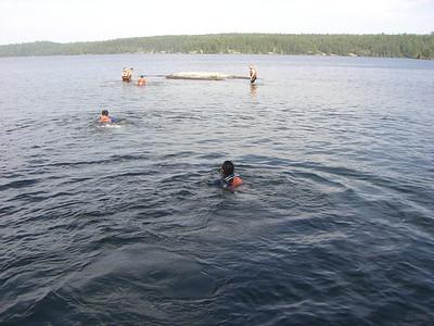 Swimming at second campsite (Agnes Lake)