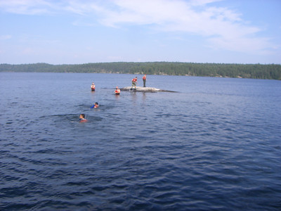 Swimming at second campsite (Agnes Lake)