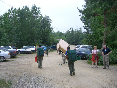 The long portages started before we even hit the water.  Robert and Matt are carring the food packs, probably 70 to 80 lbs each.