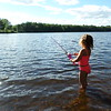 Sophia Butterfield fishing on Scituate Pond in York Maine.