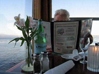 Blast from the past: my mother-in-law checking the menu at The Fish Hopper during our Oregon-California road trip in August 2005.