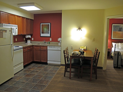Kitchen in our 2-bedroom suite at Residence Inn by Marriott in Salinas.