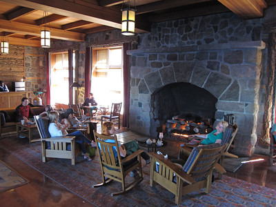 Warming up at the fireplace in the Crater Lake Lodge. They serve great food!