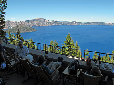 On the porch of Crater Lake Lodge. It doesn't get much better than this!