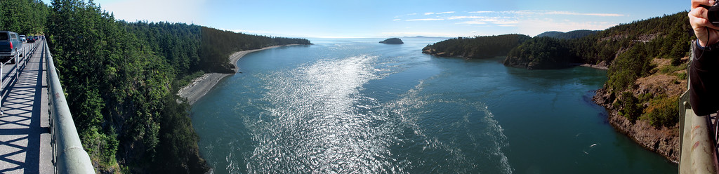 180-degree panorama from the Deception Pass bridge.