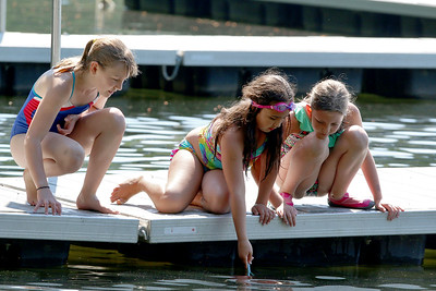 From left, Svea Sullivan, 10, Amanda Pedrosa, 9, and Elsa Sullivan, 9, all from Groton, had fun trying to catch some small fish at Sargisson Beach. SUN/JOHN LOVE