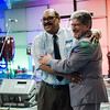 Pastor George Rodriguez thanks Mayor Stephen DiNatale during a luncheon to celebrate the end of summer camp at New Life Spanish Christian Church in Fitchburg on Friday, July 28, 2017. SENTINEL & ENTERPRISE / Ashley Green
