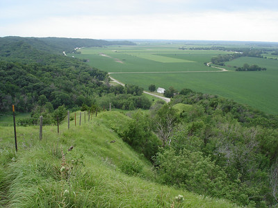 Atop the Loess Hills in Iowa.  If you're not here, it's flat.