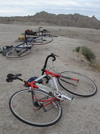 Giving our bikes a rest in Badlands National Park.  They had a hard climb.