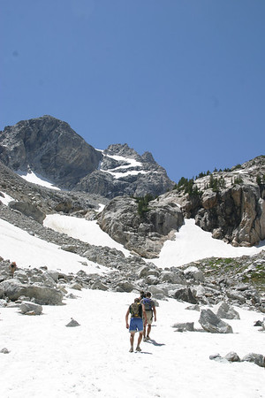 Ascending our first snowfield on Middle Teton.