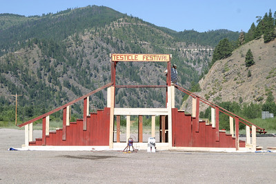 The grandstand for the Testicle Festival in Rock Creek, MT.  Unfortunately, festivities won't begin for another few weeks.
