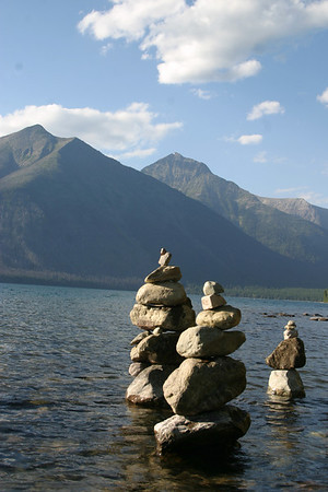 An afternoon stacking rocks (view 4).  Glacier National Park.