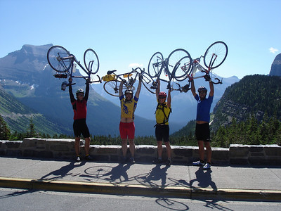 Victory! Summiting Going to the Sun Road.  Glacier National Park.