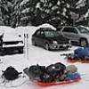 Everything packed and ready for the hike up. Expedition sleds were used to haul camping gear, food, firewood, and New Year celebration party goods.
