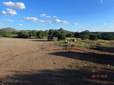 Verde River trailhead parking lot.  Park and begin the walk.  The road down is to the right of my truck.  Primitive camping is allowed at this lot.
