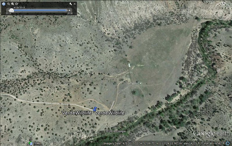 Via Google Earth showing the old Verde Ranch surrounded by the river
