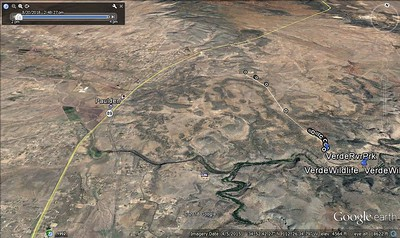 Google Earth showing the the Wildlife area compared to highway 89 and the city Paulden AZ