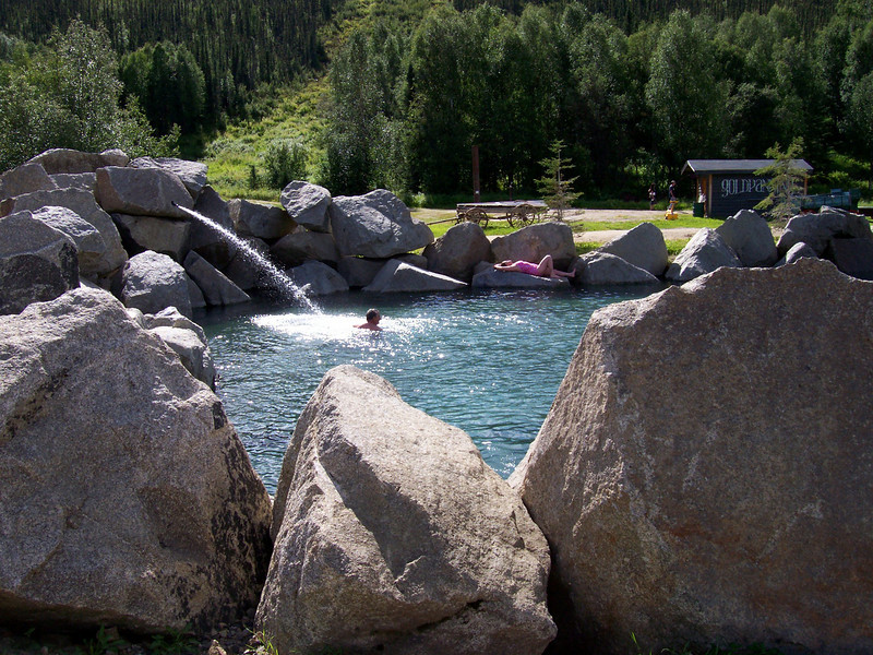 Credit: Chena Hot Springs Resort<br /> <br /> Swimmers soak in the outdoor rock lake at Chena Hot Springs Resort.