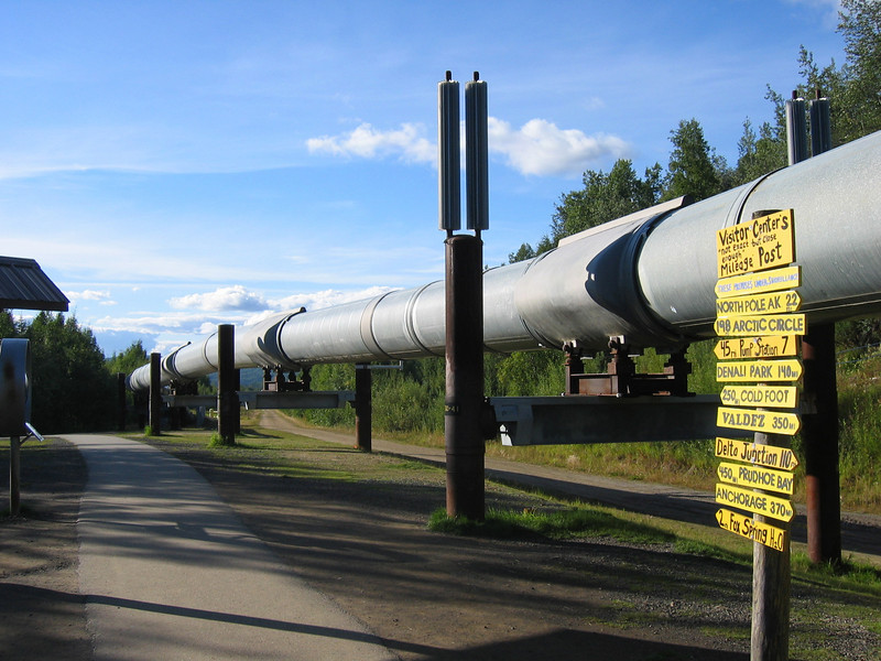 The trans-Alaska oil pipeline near Fairbanks, Alaska.