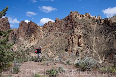 Man hiking at Smith Rock, Oregon.