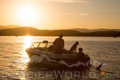 Evening waterski on Whitefish Lake, MT