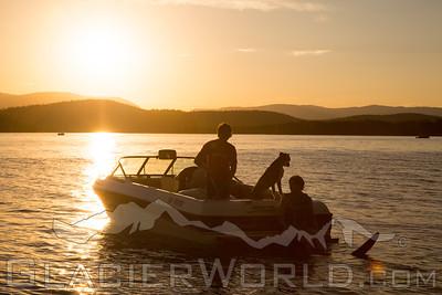 Evening waterski on Whitefish Lake, MT