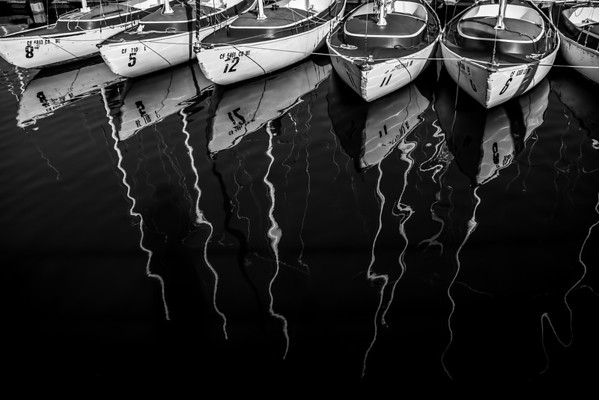 sailboats reflection