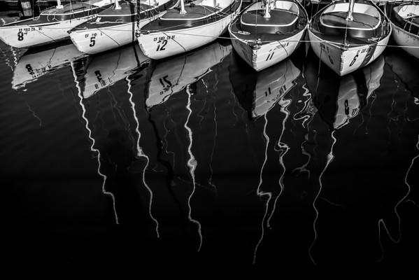 sailboats reflection