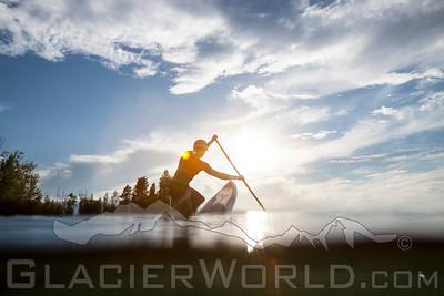 Paddleboarder on Flathead Lake, Montana