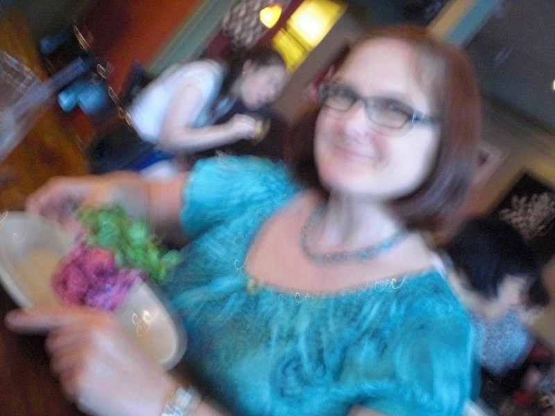 Cousin Susan Sarle with a beet salad--camera was really not functioning on zoom at this point.,  Arlington, Mass.