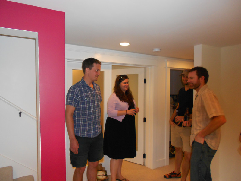 Sam, Leah, Jay, and Matt talking about the remodel that Jay and Matt had done