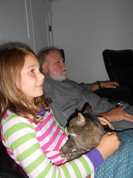 """Watching """"The Lorax"""" in Jay's man cave"""