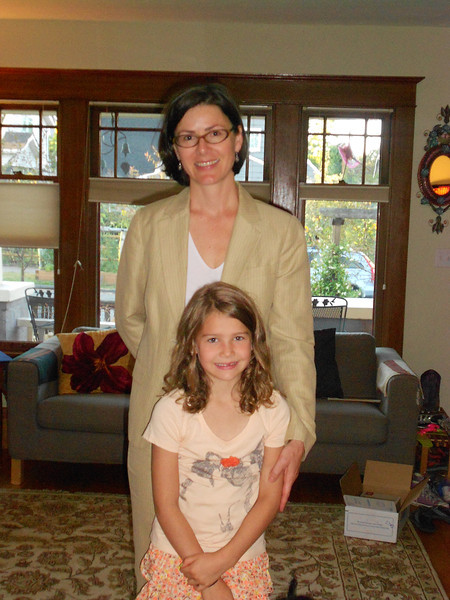 Mom and daughter on 1st day of 2nd grade