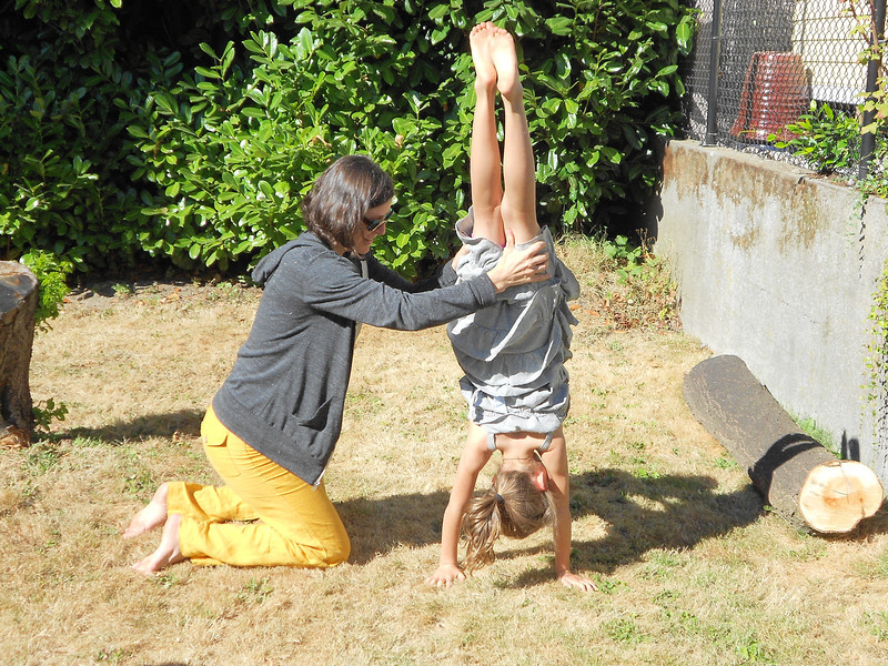 Perfecting the handstand--Mom demonstrated but I was too slow w/camera!