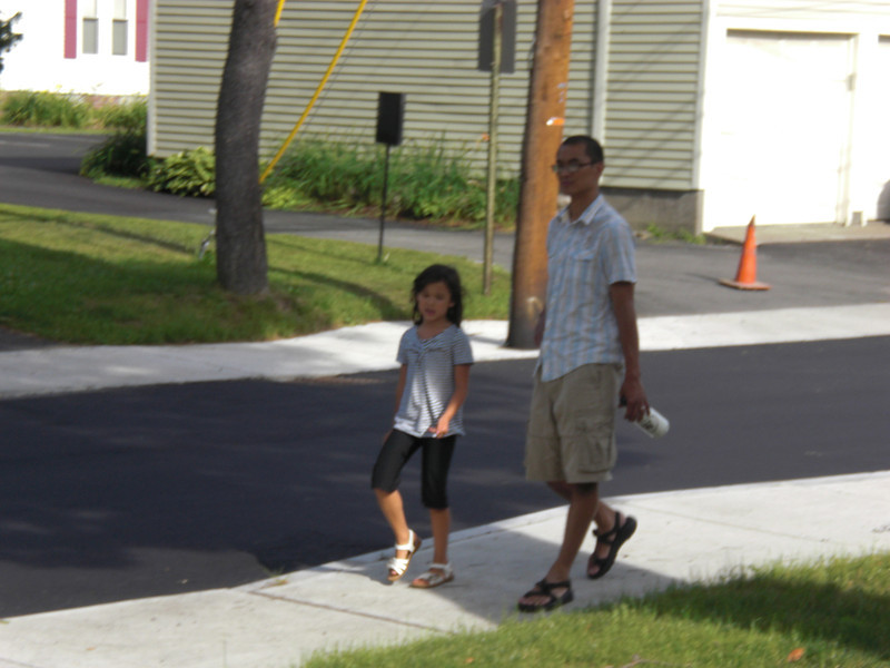 Camille and Joel on a walk around the block