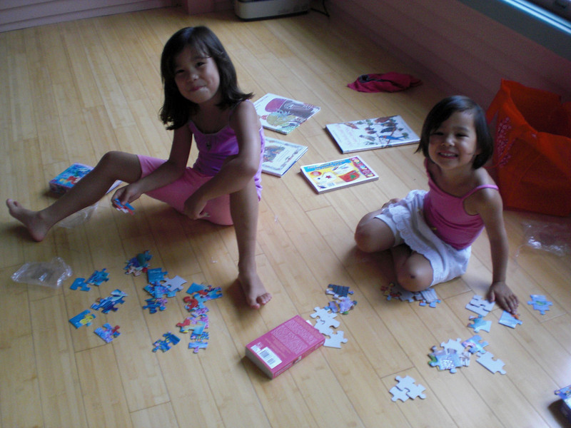 Bill and I went to visit cousins and a friend in Newport (see the gallery New England...) and returned on Saturday 7/7 when the furniture arrived.  Brought the girls puzzles which took them less than 5 minutes to do :)