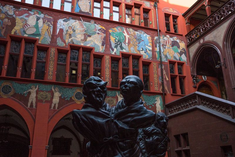 The Basel Rathaus. The very powerful scultpures, representing politicians who are bound together and cannot escape their bindings, is by [???].