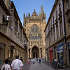 The Metz Cathedral, from the commercial center. Most of the cathedrals have a market place right around the cathedral, but this one does not. Perhaps there was originally one around the cathedral when it was begun in the 13th century.