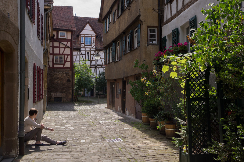 "Probably, this single ""dead end"" area, which has a stream for the miqveh which was found in the basement of one of the houses, was the main section housing Jews in Tuebingen."