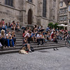 Everyone enjoying ice cream on the steps of Tuebingen's main church.