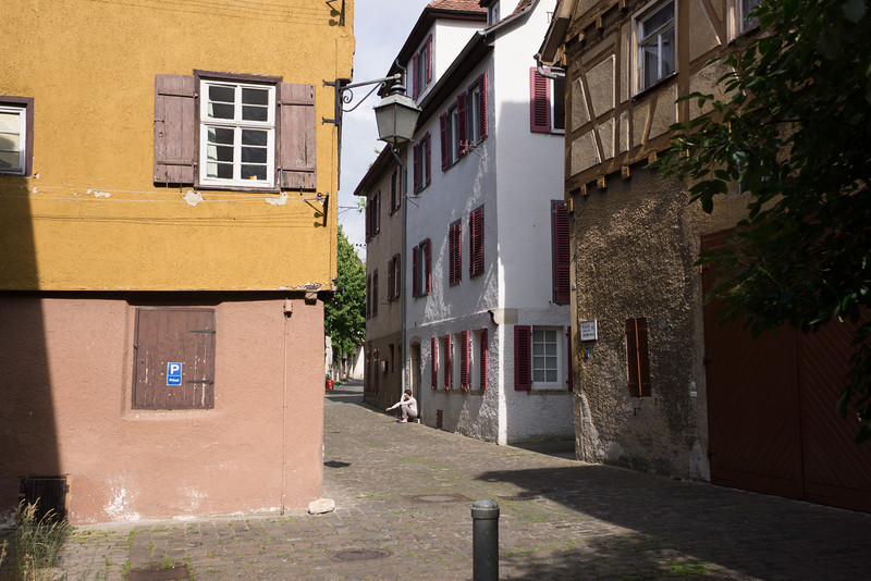 Looking back toward narrow alley entering the medieval Jewish Quarter.