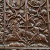 Erfurt Cathedral: This relief, on the side of a pew, shows a crusader attacking a Jew riding a pig. The Jews were banished from Efurt in 1358.