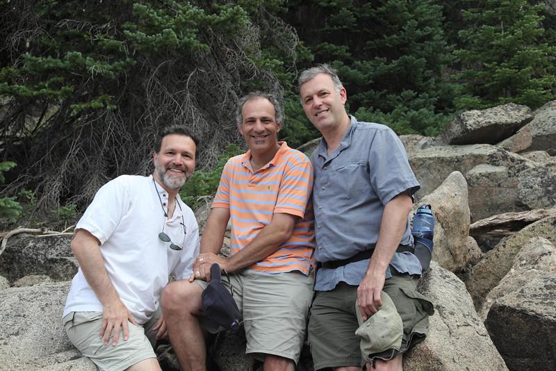 (l-r) the three brothers, David, Jonathan, Richard, at Weller Lake, Colorado, July 2010.